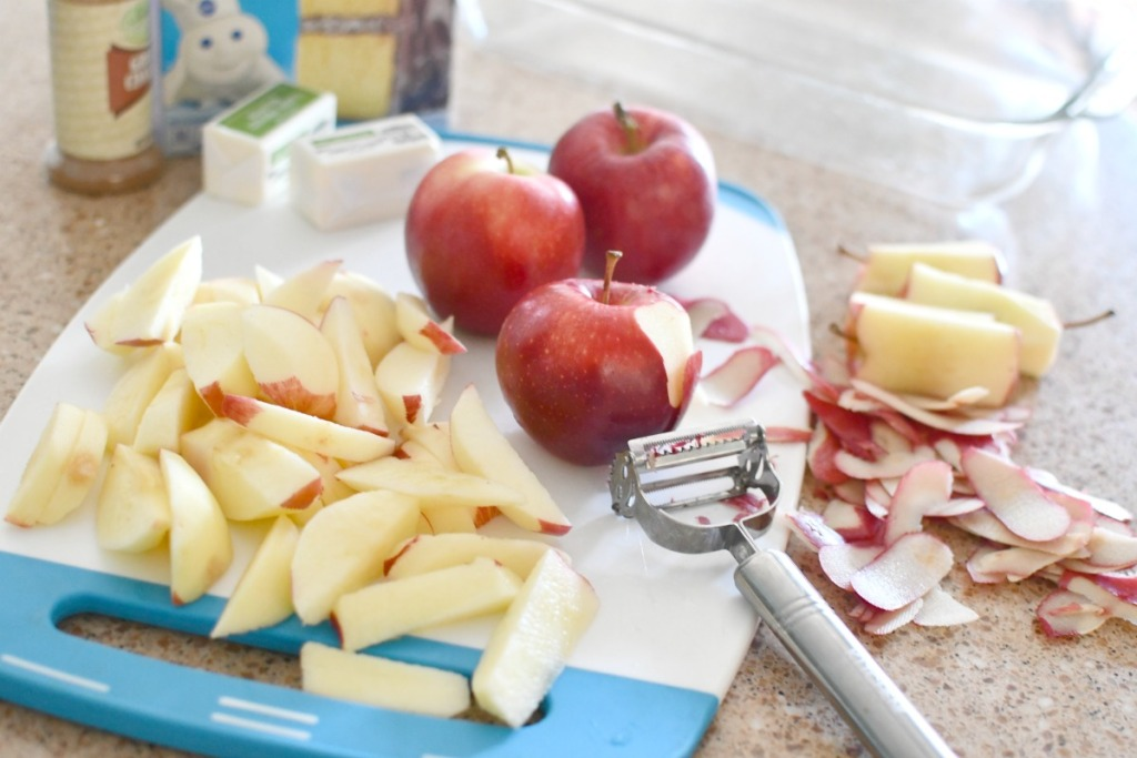 peeling and chopping apples