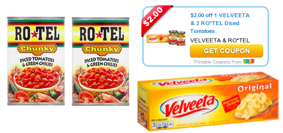 image relating to Velveeta Printable Coupon named Exceptional Coupon: $2 Off Velveeta AND 2 Cans of RO*TEL Tomatoes
