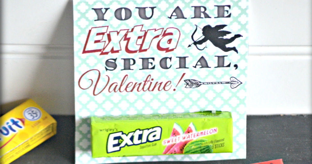 photo about Extra Gum Valentine Printable named Chewing Gum Valentines Working day Playing cards (Absolutely free Printables) - Hip2Conserve