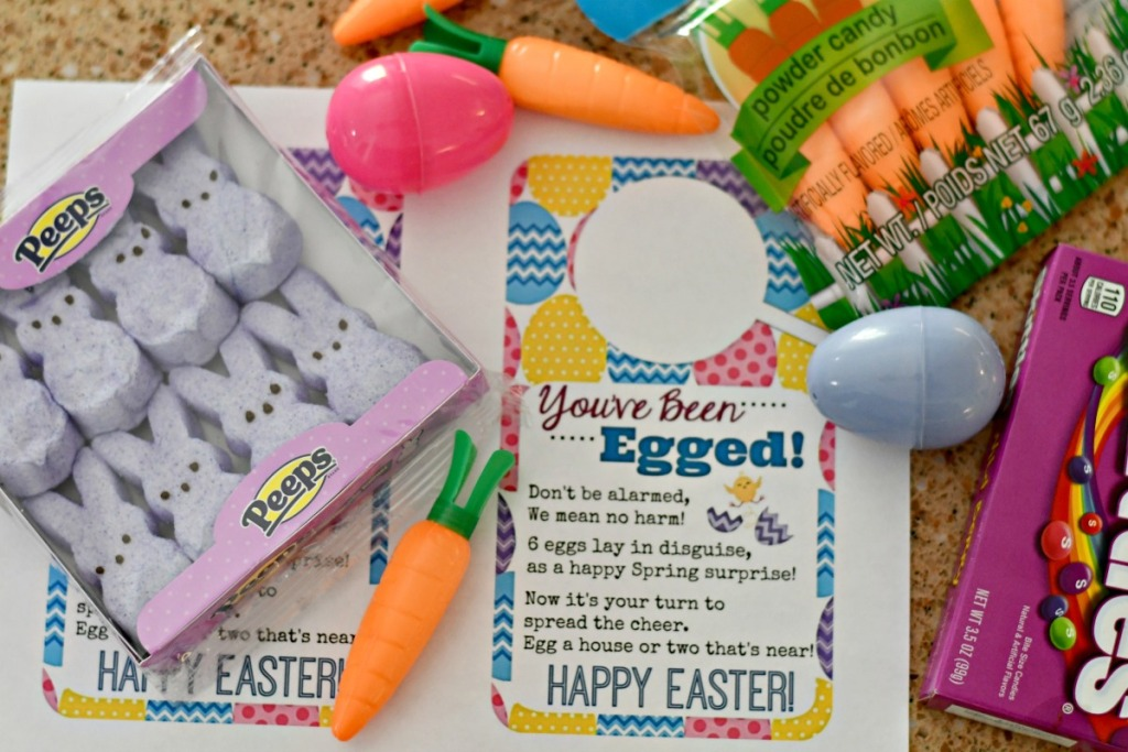 free printable you've been egged with easter candy and goodies on the counter