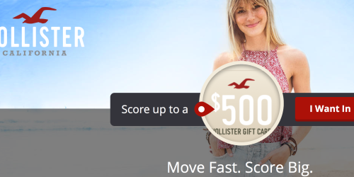 Hollister: 380 Win $10-$500 eGift Cards (Sign Up Now)