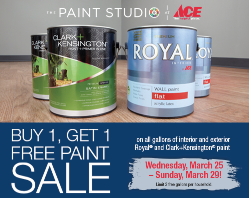 Ace hardware buy 1 get 1 free royal or clark kensington paint sale through march 29th hip2save