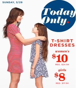 d434c5bf7c6d Old Navy shoppers! Today, March 29th only, head over to your local Old Navy  where you can score Women's T-Shirt Dresses for $10 and Girls T-Shirt  Dresses ...