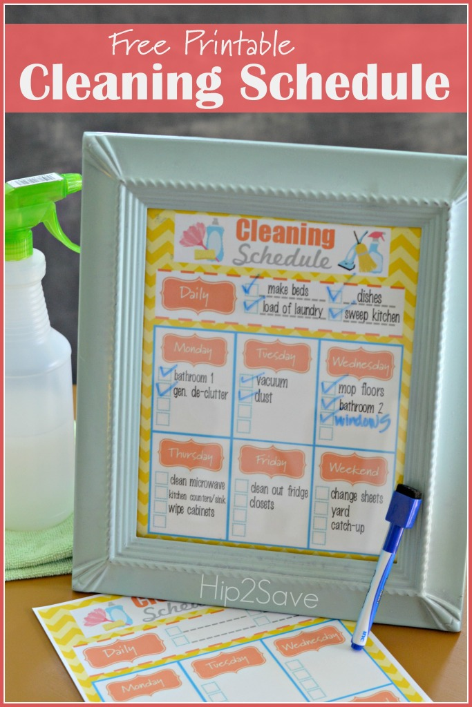 Free Printable Cleaning Schedule Hip2Save
