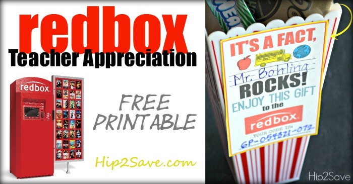 Teacher Appreciation Gift Idea: Gift a Redbox Code (Free Printable Card)