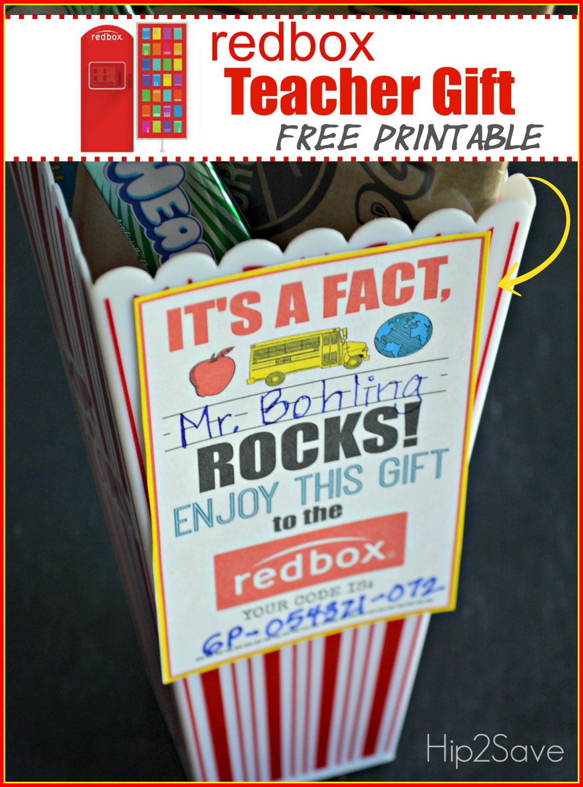 graphic regarding Redbox Teacher Appreciation Printable identify Trainer Appreciation Reward Notion: Reward a Redbox Code (Free of charge