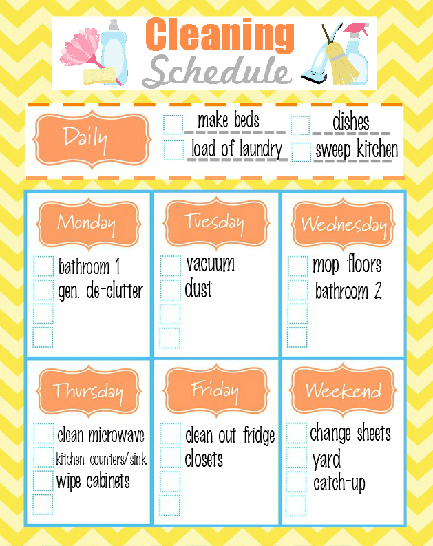image about Printable Weekly Cleaning Schedule known as Absolutely free Printable Weekly Cleansing Routine + Do-it-yourself All