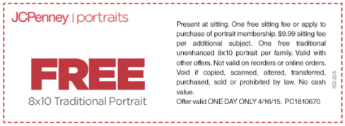 jcpenney portraits free 8x10 traditional portrait with no sitting