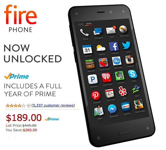 79b40be2827 Amazon Fire Phone 32GB - Unlocked GSM + One FREE Year Amazon Prime Only  189  (Reg.  449) - Hip2Save