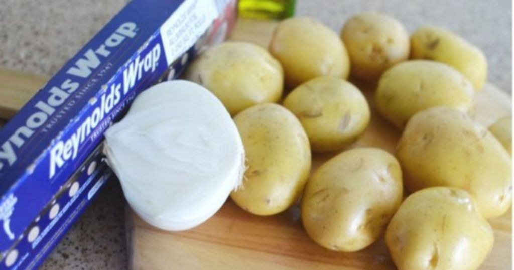 grilled potato and onions