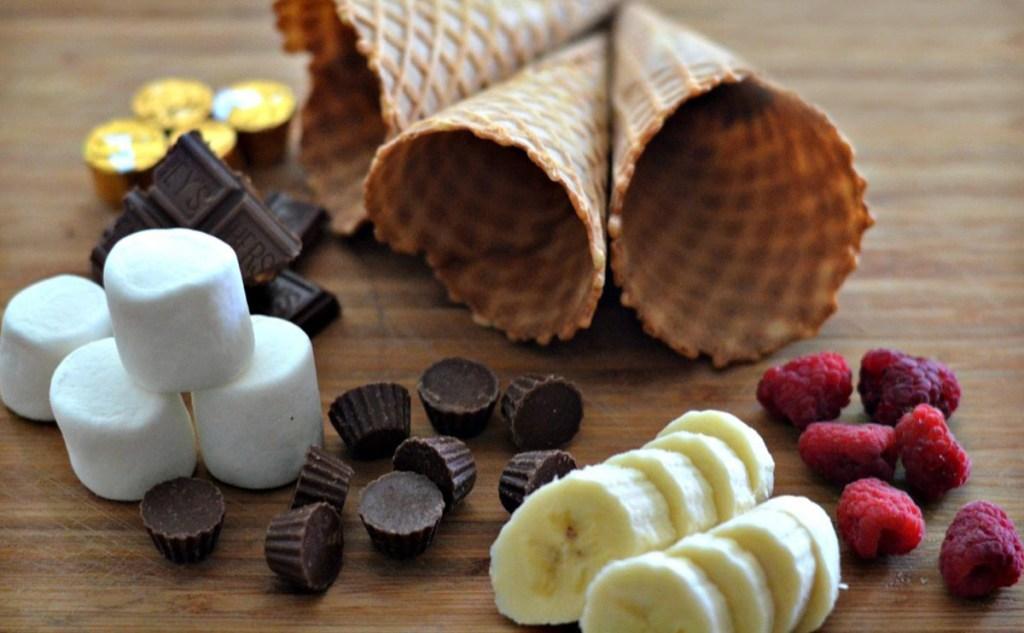 ice cream cones and smores filling