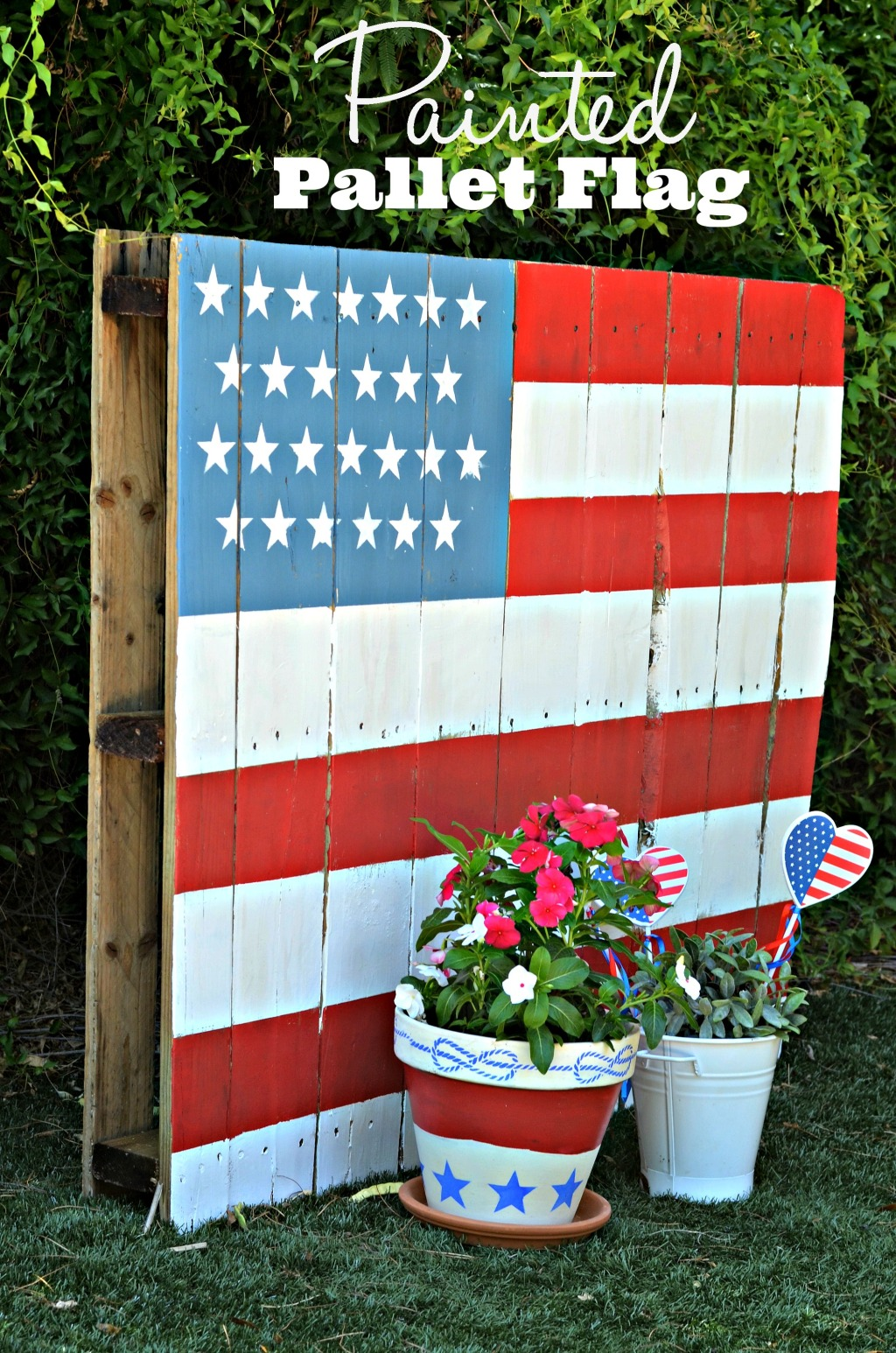 Painted Pallet Flag in Backyard