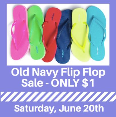 aafe8f157fc Old Navy  1 Flip Flops Sale on June 20th - Hip2Save
