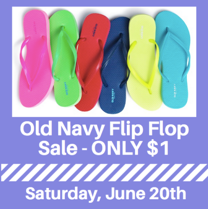 9ab3a619406 Old Navy  1 Flip Flops Sale on June 20th - Hip2Save