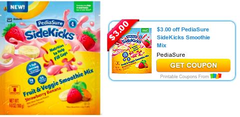 New 3 1 Pediasure Sidekicks Fruit Vegetable Smoothie Mix Coupon