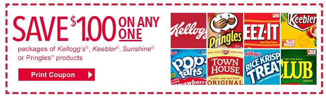 picture regarding Pringles Printable Coupons called Superior Importance $1/1 Kelloggs, Keebler, Solar or Pringles