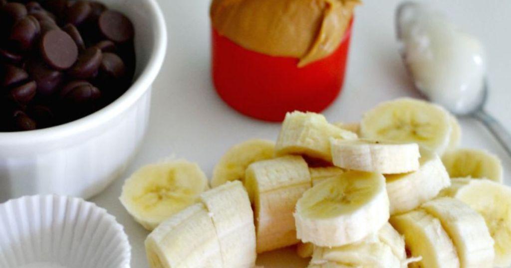 making banana peanut butter cups