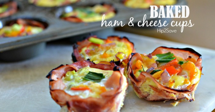 Baked ham & cheese cups