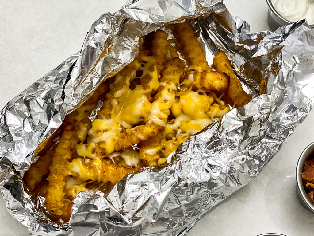 foil packet with cheesy grilled french fries