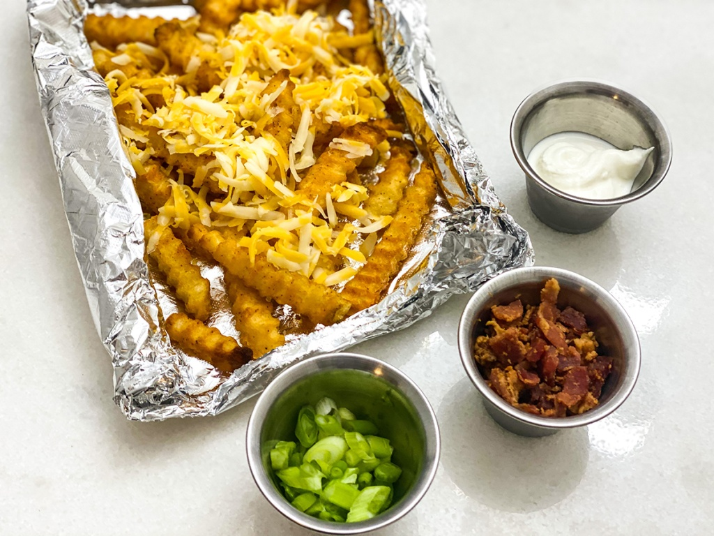 loaded grilling fries with toppings
