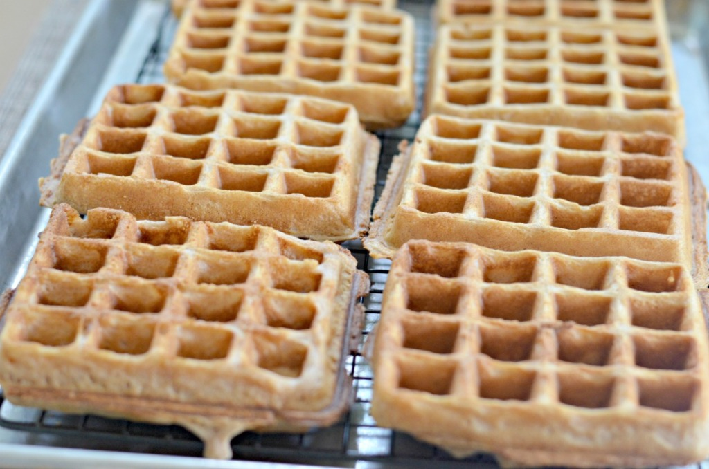 golden brown cooked homemade waffles
