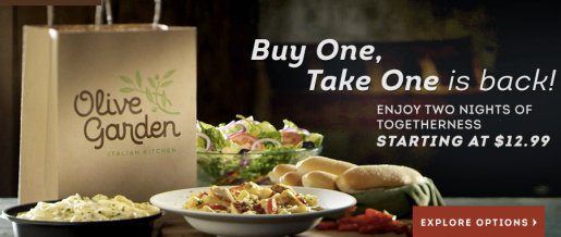 Olive Garden Up To 20 Off Entire Lunch Check Coupon Buy 1 Entree Take 1 Home Free Hip2save