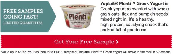 Free Yoplait Plenti Greek Yogurt Sample for select Betty Crocker Members