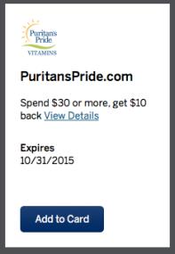 American Express Puritan's Pride Offer