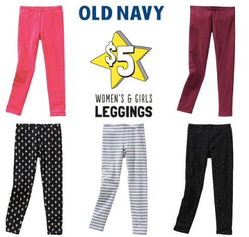 Old Navy: $5 Leggings for Women and Girls In-Store Today Only (Reg