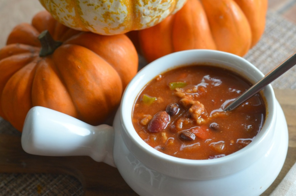 pumpkin turkey chili in white ramekin