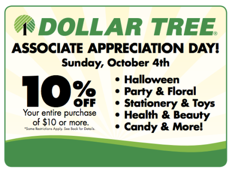 Dollar Tree Associate Appreciation Day coupon