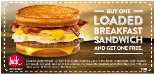 Jack In The Box Buy 1 Get 1 Free Loaded Breakfast Sandwich Coupon