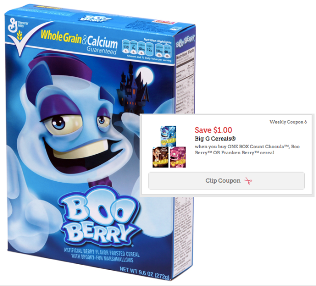 High Value $1/1 General Mills Count Chocula, Boo Berry Or