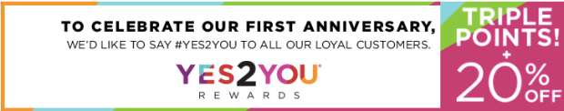 Kohl's Yes2You Rewards: 20% Off Entire Online or In-Store Purchase AND Earn Triple Points
