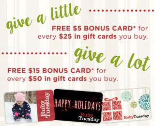 Ruby Tuesday 2015 Gift Card Offer