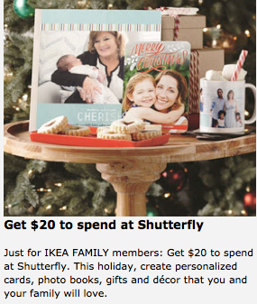 IKEA Family: Possible Free $20 Shutterfly Credit (Check Inbox)