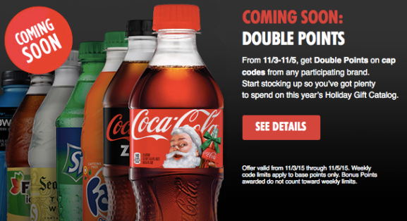 My Coke Rewards: Earn Double Points on ALL Cap Codes (November 3rd-5th Only)