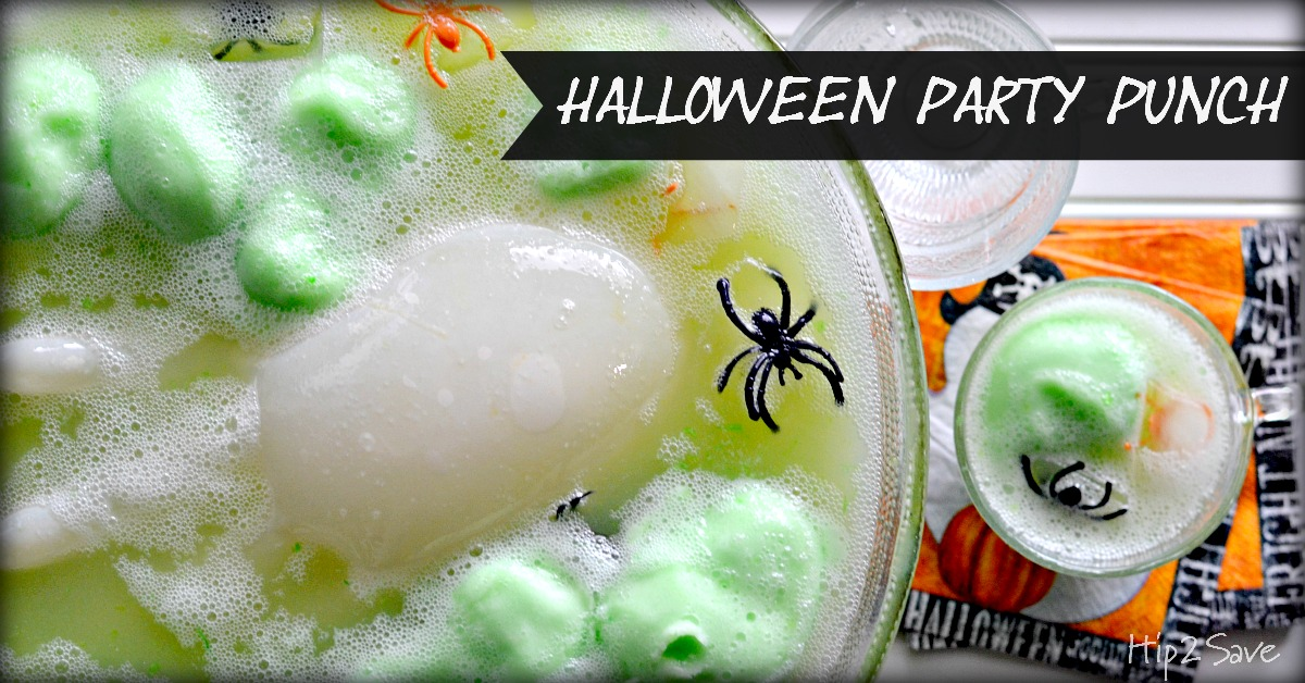 Halloween party punch banner over the punch in a bowl
