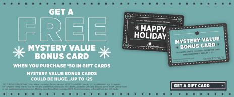 Applebee's Mystery Bonus Card Offer 2015