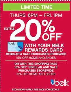 You can also snag a 20% off coupon with your Belk rewards card (sign up for  Belk Rewards here) or an extra 15% off with the coupon found in the ad  (valid on ... a91c570135d8a