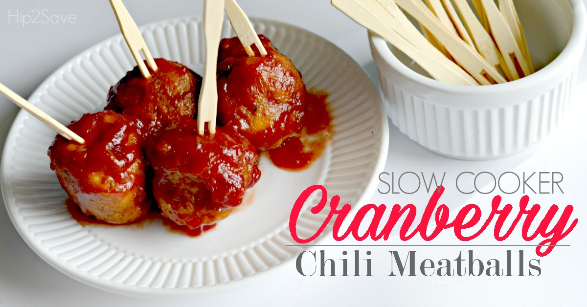 Easy Cranberry Chili Meatballs Made in the Slowcooker by Hip2Save.com