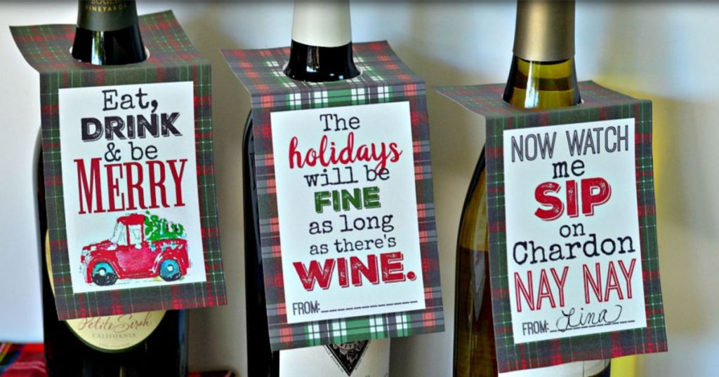 holiday wine printable tags