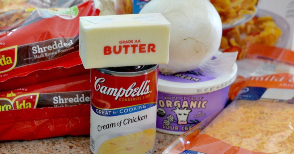 ingredients for cheesy potato casserole