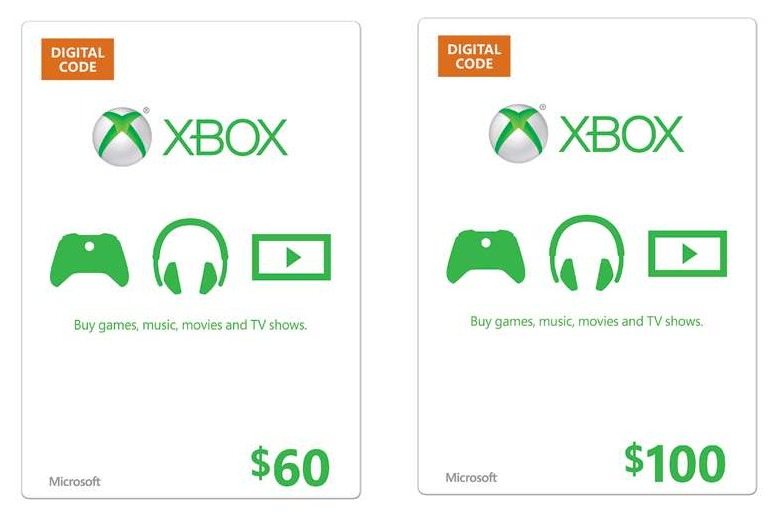 60 microsoft xbox live gift card only 53 or 100 xbox