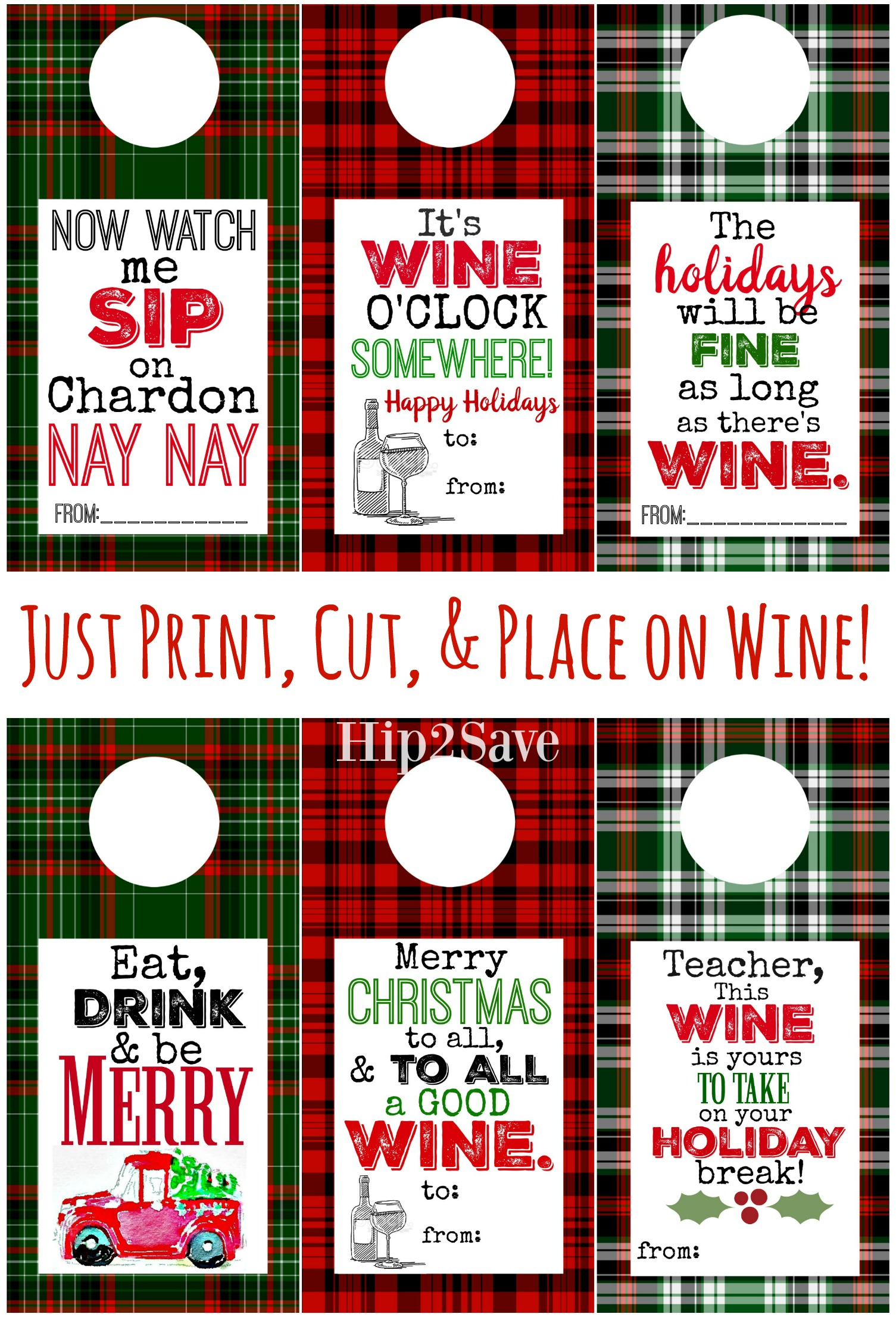 Plaid Wine Labels Free to print on Hip2Save.com