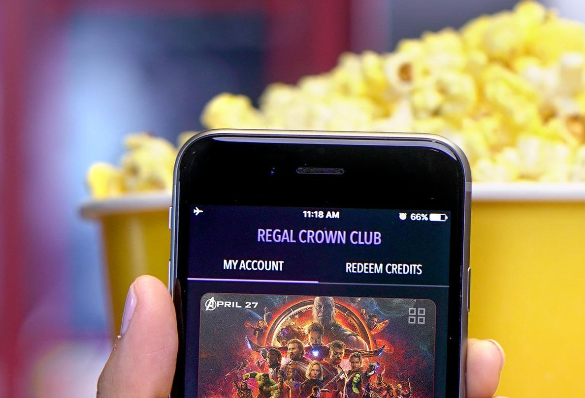 simple movie theater hacks that save money - Regal crown club app on a mobile phone