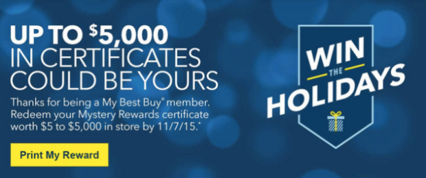 Best Buy Rewards Members: Check Email for Possible Mystery Reward Valued at $5-$5,000