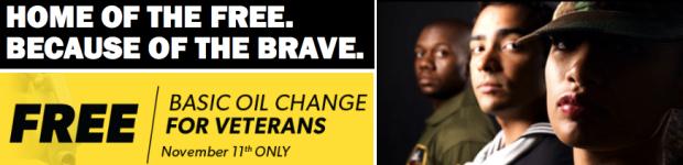 Meineke: Free Oil Change for Veterans (November 11th)