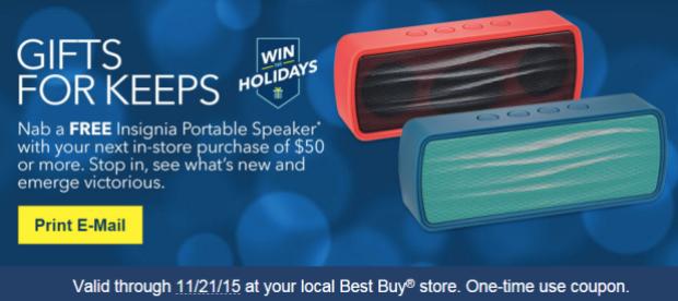 Best Buy Rewards Members: Possible FREE Portable Speaker w/ $50 In-Store Purchase