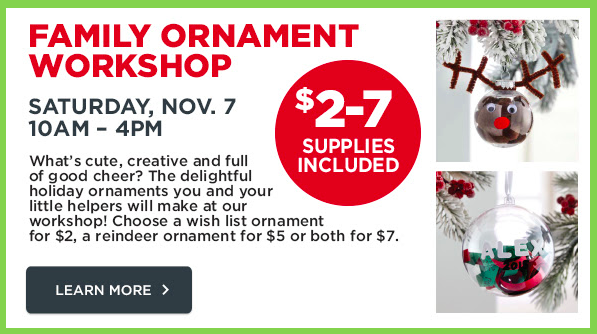 Michaels: Family Ornament Workshop This Saturday